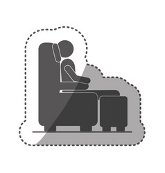 Sticker black silhouette pictogram male sitting in vector