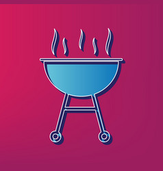 Barbecue simple sign  blue 3d printed icon vector