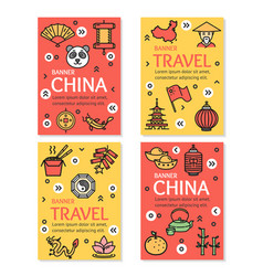 China asian country travel flyer banner placard vector