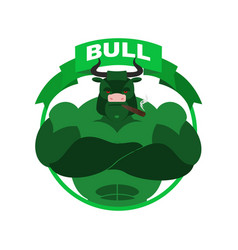 Green bull up arrow exchange trader business vector