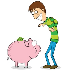 Man with piggybank vector