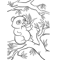 Panda seats on the tree and eats leaves vector