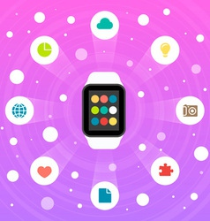 Smart watch flat design icon vector