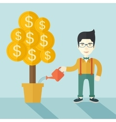 Asian businessman happily watering the money tree vector image