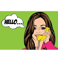 Sexy beautiful woman chatting at retro phone vector