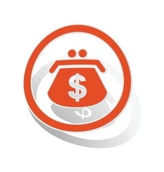 Dollar purse sign sticker orange vector