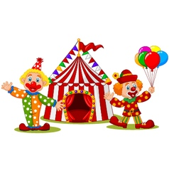 Cartoon happy clown in front of circus tent vector image