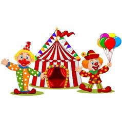 Cartoon happy clown in front of circus tent vector