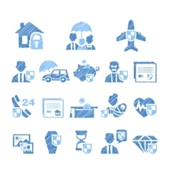Insurance icons in handdrawn style vector