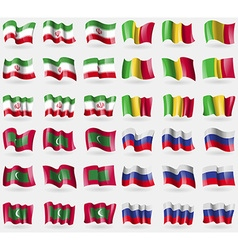 Iran mali maldives russia set of 36 flags of the vector