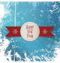 New year greeting white label and red ribbon vector