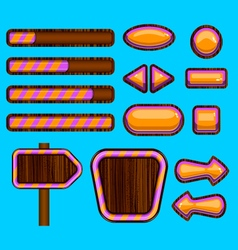 Wooden user unterface game design vector