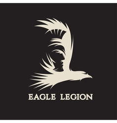negative space concept of warrior head in eagle vector image