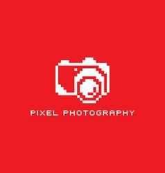 Pixel photography theme logotype vector