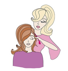Woman getting haircut by hairdresser vector