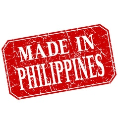 Made in philippines red square grunge stamp vector