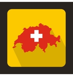 Map and flag of Switzerland icon flat style vector image