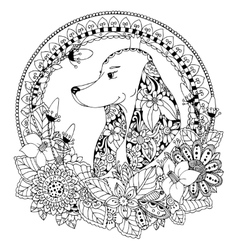 Zen tangle dog in round frame vector