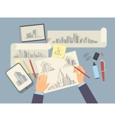 Architect designer working desk with architectural vector