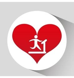 Athlete silhouette heart beat walking machine vector