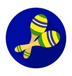 Brazilian maracas icon in flat style isolated on vector