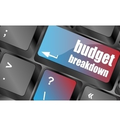 budget breakdown words on computer pc keyboard vector image