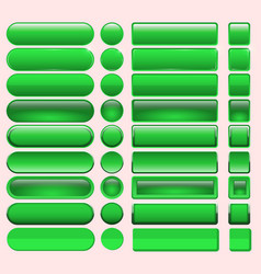 Buttons green many for website design vector