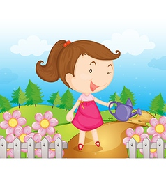 Cartoon Garden Girl vector image vector image