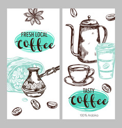 Coffee packaging banner set vector