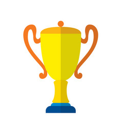 Cool flat design gold cup award icon vector