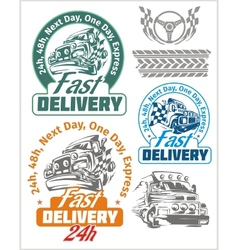 Delivery emblems and elements Shipping signs vector image