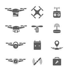 Drones icon battery remote control flat vector