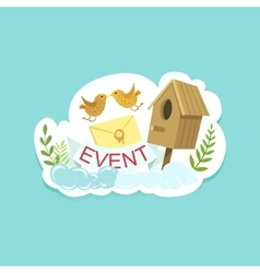 Event template label cute sticker with birds and vector