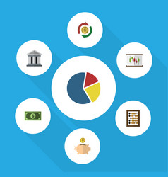 Flat icon finance set of bank counter graph and vector