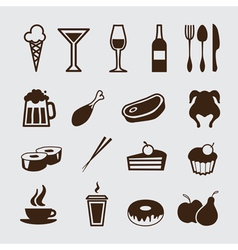 food and drinks icons vector image