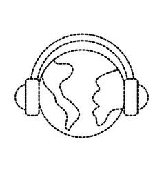 globe world headphones audio music icon vector image