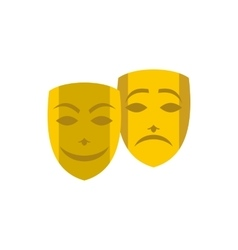 Gold comedy and tragedy theatrical masks icon vector image