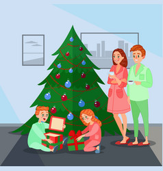 kids opens christmas presents happy family vector image vector image