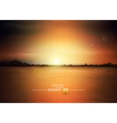 landscape with a rising sun and mountains vector image