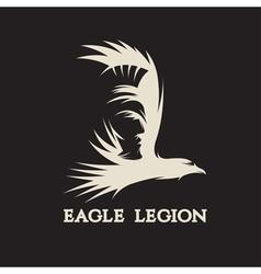 negative space concept of warrior head in eagle vector image vector image