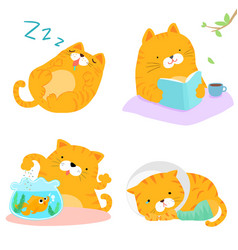 Orange cat variety action pack vector