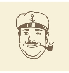 Painted face wave captain with a pipe vector image