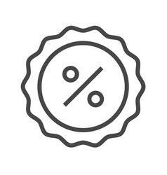 Percent badge thin line icon vector