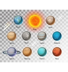 Planets colorful set on white background vector