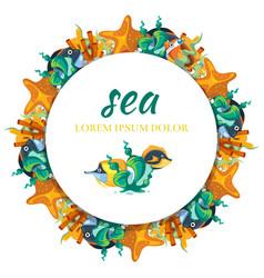 Sealife round banner design - banner with cartoon vector