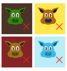 set of flat icons of pig in graphic style hand vector image vector image