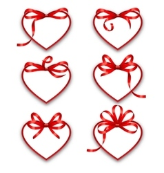 Set Paper Cards in Form Hearts with Red Bows for vector image vector image