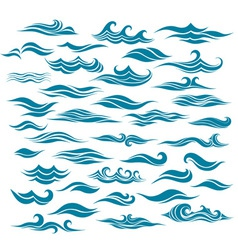 set stylized waves from element of the design vector image