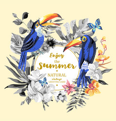 summer greeting card with pair of toucan exotic vector image vector image