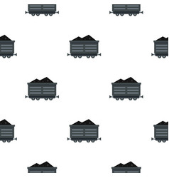 Train waggon with coal pattern flat vector
